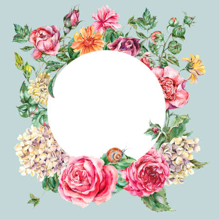 Watercolor Vintage Floral Round Frame with Pink Roses, Hydrangea, Snail and Wild Flowers, Botanical Greeting Card, Watercolor illustration on Blue Background