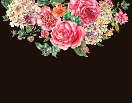 Watercolor Vintage Floral Bouquet with Pink Roses, Hydrangea, Snail and Wild Flowers, Botanical Greeting Card, Watercolor illustration on Black Background 版權商用圖片 - 131699762