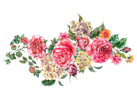 Watercolor Bohemian Vintage Floral Bouquet with Pink Roses, Hydrangea, Snail and Wild Flowers, Botanical Greeting Card, Watercolor illustration isolated on White Background Stock Photo