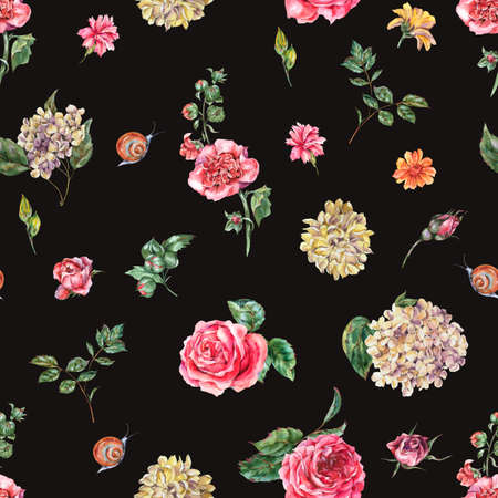 Cute Watercolor Vintage Floral Seamless Pattern with Pink Roses, Hydrangea, Snail and Wild Flowers, Botanical Texture, Watercolor illustration on Black Background