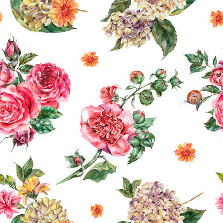 Watercolor Vintage Floral Seamless Pattern, Bouquet with Pink Roses, Hydrangea, Snail and Wild Flowers, Botanical Watercolor Bohemian Texture on White Background