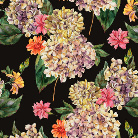 Watercolor Vintage Floral Seamless Pattern with Blooming White Hydrangea and wildflowers, Watercolor botanical natural hydrangea texture on black background.