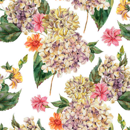 Watercolor Vintage Floral Seamless Pattern with Blooming White Hydrangea and wildflowers, Watercolor botanical natural hydrangea texture. Zdjęcie Seryjne