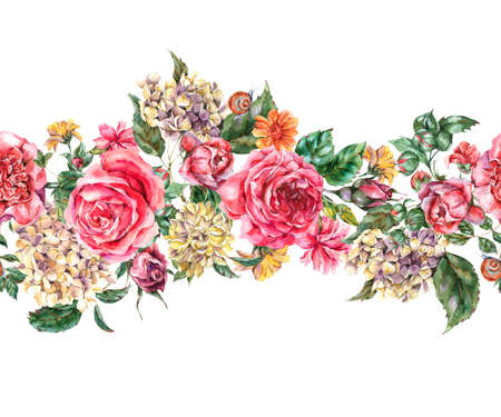 Watercolor Vintage Floral Seamless Border with Pink Roses, Hydrangea, Snail and Wild Flowers, Botanical Texture, Watercolor illustration on White Background Zdjęcie Seryjne