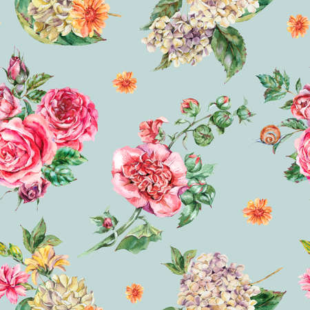 Watercolor Vintage Floral Seamless Pattern, Bouquet with Pink Roses, Hydrangea, Snail and Wild Flowers, Botanical Watercolor Bohemian Texture on Blue Background