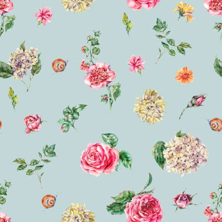 Cute Watercolor Vintage Floral Seamless Pattern with Pink Roses, Hydrangea, Snail and Wild Flowers, Botanical Texture, Watercolor illustration on Blue Background Zdjęcie Seryjne
