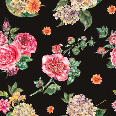 Watercolor Vintage Floral Seamless Pattern, Bouquet with Pink Roses, Hydrangea, Snail and Wild Flowers, Botanical Watercolor Bohemian Texture on Black Background Zdjęcie Seryjne