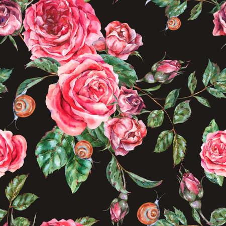 Vintage watercolor seamless pattern of red roses, Nature texture with flowers, leaf,  buds and snail, botanical floral illustration on black background Stok Fotoğraf