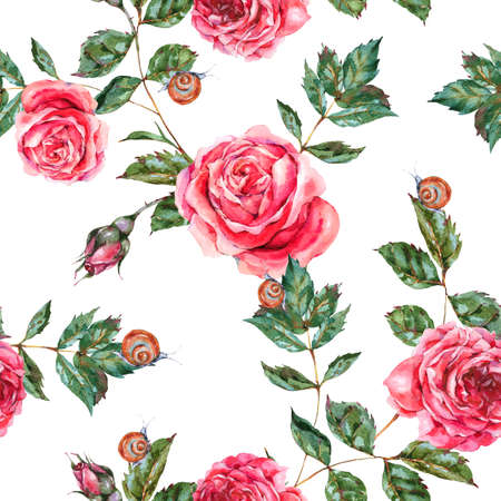 Vintage watercolor seamless pattern of red roses, Nature texture with flowers, leaf,  buds and snail, botanical floral illustration on white background
