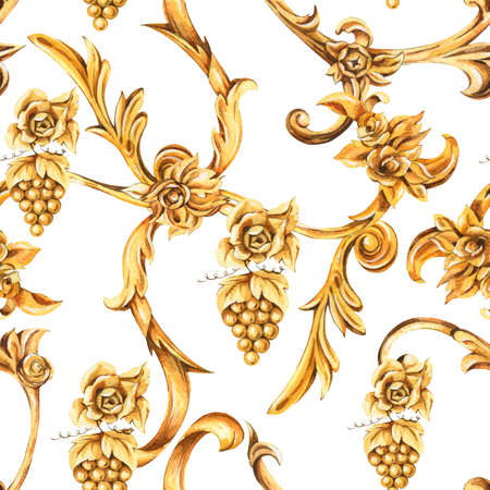 Watercolor golden baroque seamless pattern of floral curl, rococo ornament element. Hand drawn gold scroll, leaves texture on white background. Vintage design wallpaper.