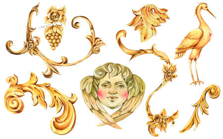 Watercolor golden baroque set of floral curl, rococo ornament element. Hand drawn gold scroll, grape, leaves, crane, angel isolated on white background. Vintage design collection.