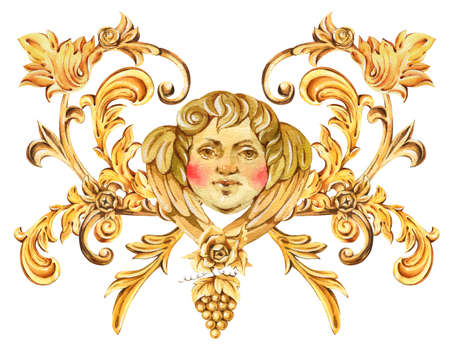 Watercolor golden baroque angel, floral curl, rococo ornament element. Hand drawn gold scroll, grape, leaves isolated on white background. Vintage design collection.