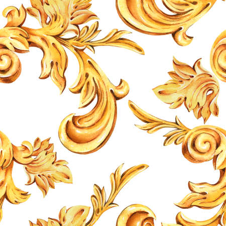 Watercolor golden baroque floral curl seamless pattern, rococo ornament texture. Hand drawn gold scroll, leaves on white background. Vintage design wallpaper.
