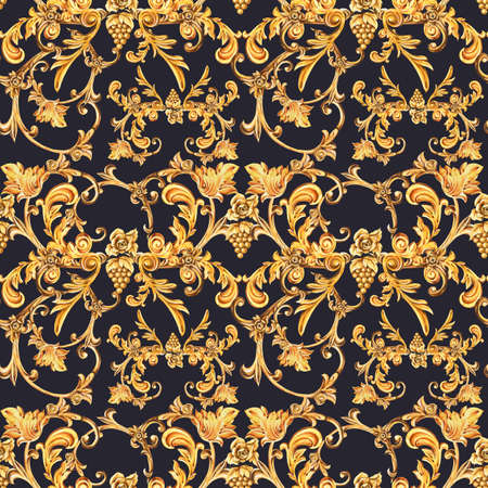 Watercolor golden baroque seamless pattern of floral curl and grape with roses, rococo ornament. Hand drawn gold scroll, leaves texture on black background. Vintage design wallpaper.