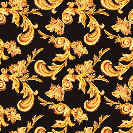 Watercolor golden baroque floral curl seamless pattern, rococo ornament texture. Hand drawn gold scroll, leaves on black background. Vintage design wallpaper. Stockfoto