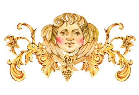 Watercolor luxury golden baroque angel, floral curl, rococo ornament element. Hand drawn gold face cupid, scroll, grape, roses, leaves isolated on white background. Vintage design collection. Stockfoto - 131767359