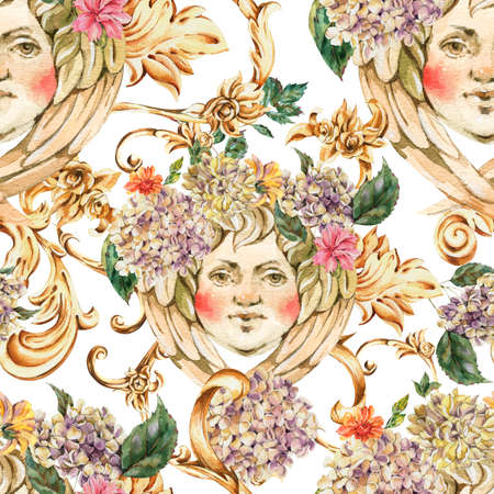 Watercolor golden baroque angel seamless pattern with hydrangea and wildflowers, rococo ornament. Vintage gold scroll texture on white background. Zdjęcie Seryjne - 132088459