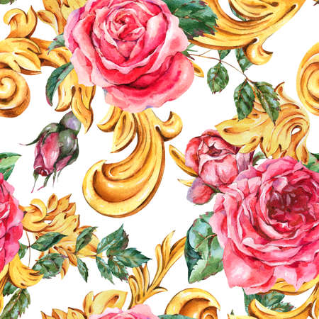 Watercolor golden baroque floral curl seamless pattern and red rose, rococo ornament texture. Natural gold scroll, leaves on white background. Vintage floral wallpaper.