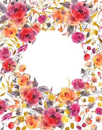 Gentle watercolor wedding round floral frame. Red, yellow, watercolor roses - flowers, twigs, leaves, buds. Hand painted vintage floral greeting card isolated on white background. Banco de Imagens