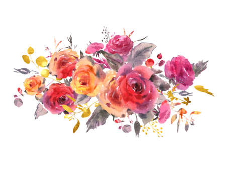 Watercolor vintage floral greeting card. Red, yellow, watercolor roses - flowers, twigs, leaves, buds. Hand painted vintage floral illustration isolated on white background. Banco de Imagens