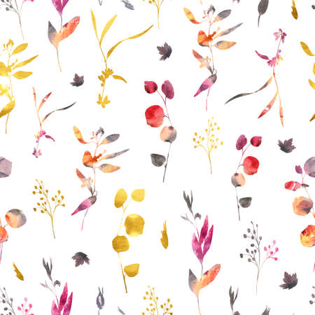 Watercolor wedding seamless pattern with wild flowers. Red, yellow, gold watercolor flowers, twigs, leaves, buds. Hand painted vintage floral texture on white background. Banco de Imagens - 134257699