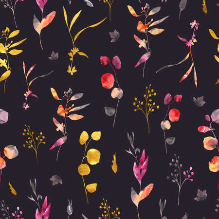 Watercolor wedding seamless pattern with wild flowers. Red, yellow, gold watercolor flowers, twigs, leaves, buds. Hand painted vintage floral texture on black background.