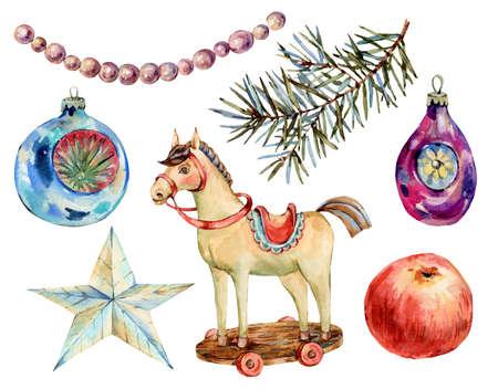 Watercolor vintage Christmas toys Banco de Imagens