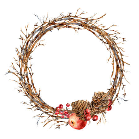 Watercolor Christmas natural wreath of tree branches