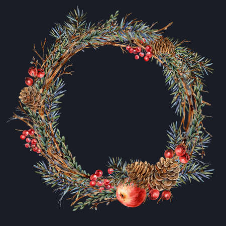 Watercolor Christmas natural wreath of fir branches