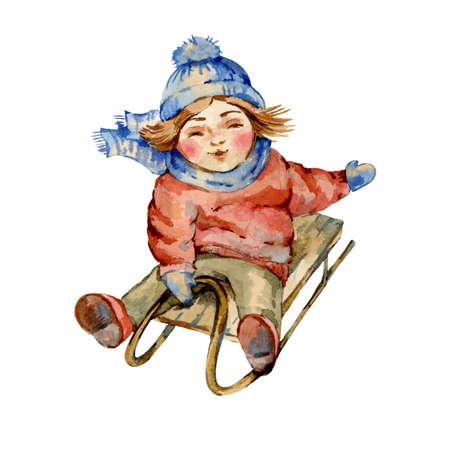 New Year winter watercolor vintage Banco de Imagens - 134546546