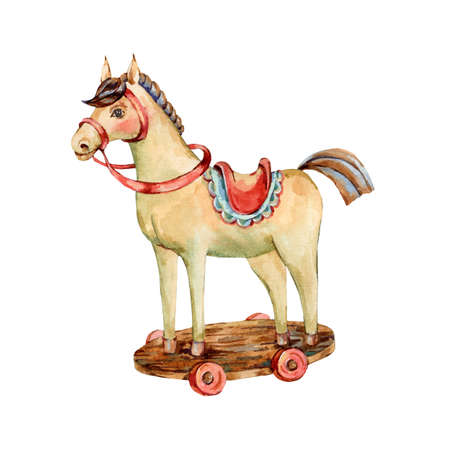 Watercolor vintage Christmas toys - wooden horse isolated on white