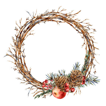 Watercolor Christmas natural wreath of fir branches, red apple, berries, pine cones, vintage botanical round frame for greeting card isolated on white Banco de Imagens - 134549038
