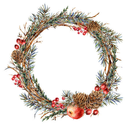 Watercolor Christmas natural wreath of fir branches, red apple, berries, pine cones, vintage botanical round frame for greeting card isolated on white Banco de Imagens - 134549034