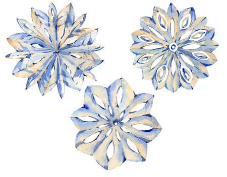 Watercolor winter collection of different snowflakes.