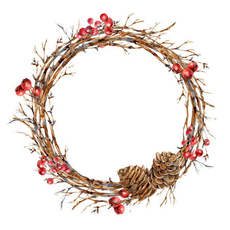 Watercolor Christmas natural wreath of tree branches, red berries, pine cones, vintage botanical round frame for greeting card isolated on white Banco de Imagens - 134549035