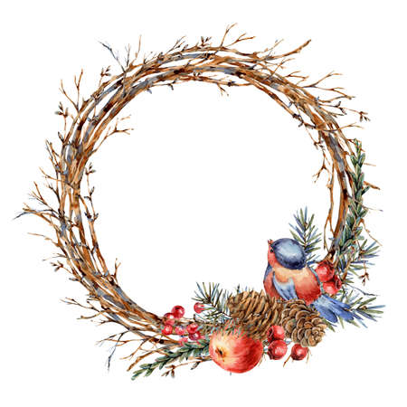 Watercolor Christmas natural wreath of fir branches, red apple, berries, pine cones, winter bird vintage botanical round frame for greeting card isolated on white Banco de Imagens - 134549033