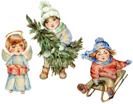 Watercolor vintage cartoon set of Christmas kids, Cute characters isolated on white Banco de Imagens