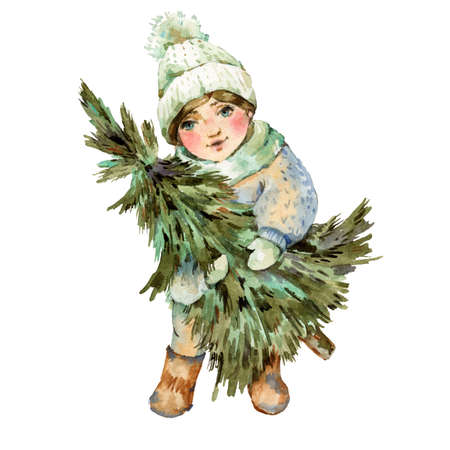 Cute little girl in white hat holds Christmas tree, New Year greeting card isolated on white Banco de Imagens - 134549041