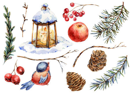 Winter Christmas elements for greeting cards, wedding invitation, birthday cards. Banco de Imagens - 134549045
