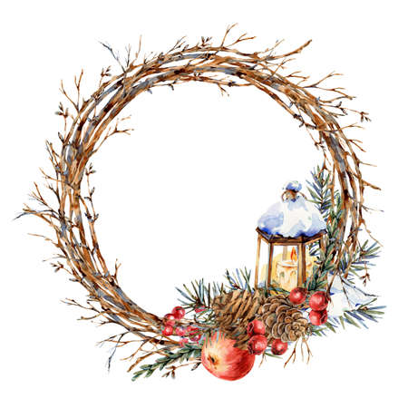 Watercolor Christmas natural wreath of fir branches, red apple, berries, pine cones, lantern, vintage botanical round frame for greeting card isolated on white