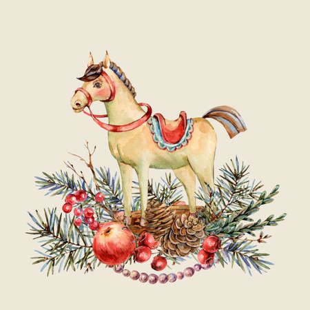 Watercolor Christmas natural greeting card of wooden horse vintage botanical  isolated on white Banco de Imagens - 134549042