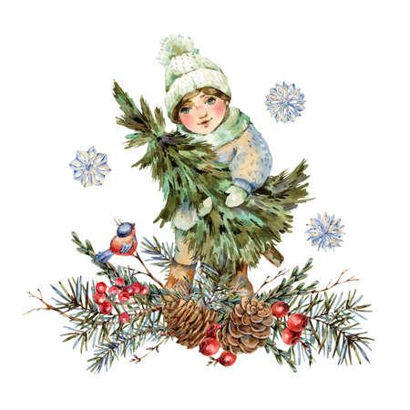 Cute little girl in white hat holds Christmas tree isolated on white Banco de Imagens