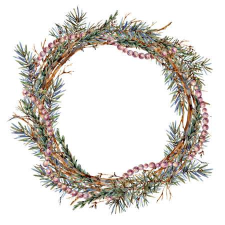 Watercolor Christmas natural wreath of fir branches isolated on white Banco de Imagens - 134549050
