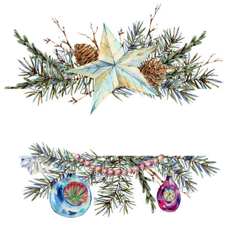 Watercolor Christmas natural template of fir branches, star, pearl beads, pine cones, vintage botanical greeting card isolated on white Banco de Imagens - 134549052