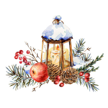 Akwarela świąteczna naturalna kartka z życzeniami z gałęzi jodły, czerwone jabłko, jagody, szyszki, latarnia