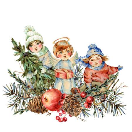 Watercolor winter vintage  with kids and fir branches, bird, berries, pine cones, red apple. Banco de Imagens