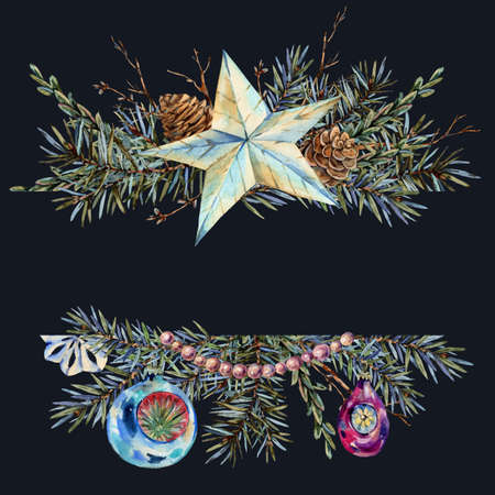 Watercolor Christmas natural template of fir branches, star, pearl beads, pine cones, vintage botanical greeting card isolated on black Banco de Imagens - 134548063