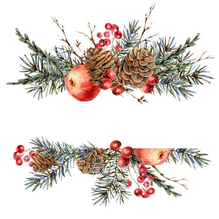 Watercolor Christmas natural template of fir branches, red apple, berries, pine cones, vintage botanical greeting card isolated on white Banco de Imagens - 134548066