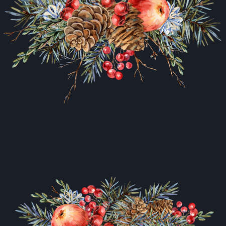 Watercolor Christmas natural template of vintage botanical greeting card isolated on black Banco de Imagens - 134940162