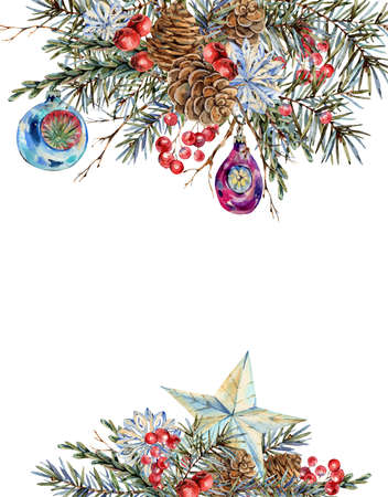 Watercolor Christmas natural frame of fir branches, star, pine cones, vintage botanical greeting card isolated on white